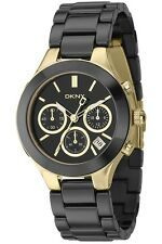 DKNY BLACK GOLD CERAMIC STAINLESS STEEL CHRONOGRAPH WOMEN'S WATCH NY4915