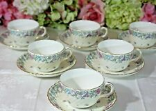 """Very Fine, Minton, """"Printemps"""" Hand Painted Cups/Saucers(6)"""
