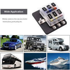 6 Way 12 Fuse Box 12-32V Circuit Standard Blade Block Holder LED Car Caravan US