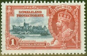 Somaliland 1935 1a Dp Blue & Scarlet SG86m Bird by Turret V.F Very Lightly Mt...