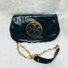 Tory Burch Reva Black Leather Gold Logo Flap Small Crossbody Clutch Purse Chain