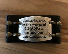 Lenny and Eva Wide Leather Cuff Bracelet with Large Sentiment Free Shipping