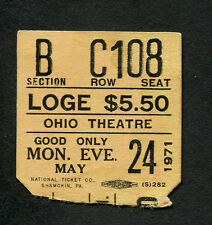 1971 Emerson Lake & Palmer Concert Ticket Stub Columbus Oh Tarkus 1st Us Tour