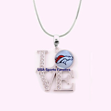 NFL Denver Broncos 925 Sterling Silver Team Logo Love Necklace With Rhinestones