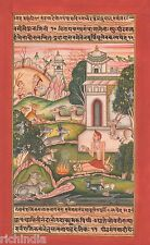 Vedic Holy man Hindu Monk Forest Yoga Meditation athenic Artwork Painting INDIA