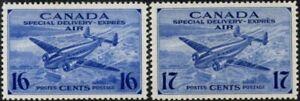 Canada 1942-43 Airmail  16c & 17c Ultramarine  SG.S13/S14  Mint Hinged