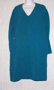 Jil Sander Blue Green Italy Polyester Long Sleeve Pockets Tunic Dress Size:36