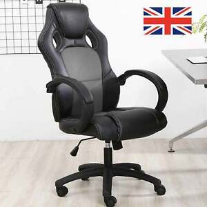 Office Executive Racing Gaming Chairs Swivel Leather Computer Desk Chair Grey