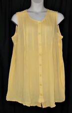 ROAMANS 24W NEW Yellow Banana Boho Crinkle Oversized Angelina Tunic Top