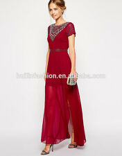 New Frock and Frill Jewelled Neck Sequined Maxi Dress, Red Burgundy, Size 16