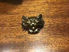 Vintage pressed Gold tone or brass 3D Lion/Tiger/Cat head Pin Brooch 2x1.5