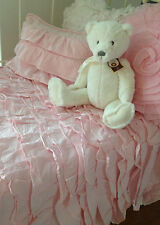 2 pc Pink Shabby Chic Ruffle Girls Crib Cot Quilt & Cushion Nursery Bedding