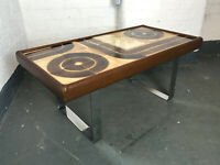 Vintage Mid Century Retro Coffee Tiled Top Table with chrome 1960s   (20C1045)