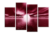 "DARK RED CANVAS WALL PICTURE SEA SUNSET SUNRISE BEACH ARTWORK 40"" 4 PANEL"