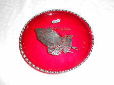 silver city sterling on ruby red crystal footed bowl praying hands