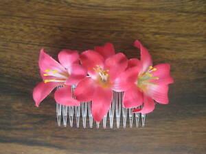 "2"" Cerise Lily Silk Flowers Hair Comb Aloha Luau"
