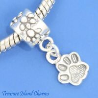 Dog Cat Paw Print 925 Solid Sterling Silver European Dangle Bead Charm Euro