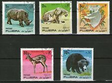 SERIE DE 5 TIMBRES OBLITERES - FUJEIRA - DIVERS ANIMAUX SAUVAGES