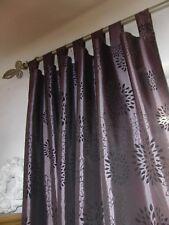 2 Gardinen,Vorhang ,Schlaufe,Brombeer/Schwarz+2tlg.Stange silber/matt ausziehb.