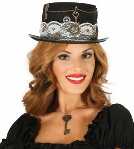 Ladies Victorian Steampunk Black Top Hat Burlesque Riding Gothic Halloween NEW