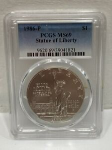 1986 P Statue Of Liberty Silver Dollar $1 Coin PCGS MS69 MS-69 Graded