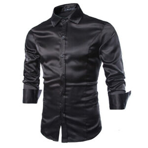 Silk Shiny shirt Glossy Casual Men's Solid Colour Slim Long Sleeve Shirts fit