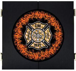 Fire Department Flames Maltese Cross Dart Board Dartboard Cabinet Kit Steel Tip