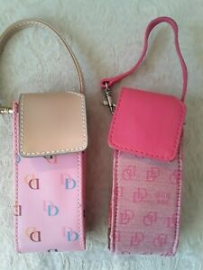 2 Vtg Dooney & Bourke Wristlet Small Cell Phone Holders Pink DB Canvas Leather