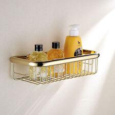 Polished Brass Bathroom Bath Shelf Wall Mount Storage Shower Cosmetic Basket 182