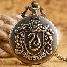 Retro Slytherin Snake Harry Potter Men Women Quartz Pocket Watch Chain Necklace