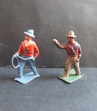 Vintage Britains Crescent Lead Cowboys Western x2 Toy Soldiers * 1940/50s * Rare