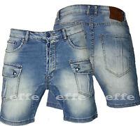 Men's Bermuda Jeans Shorts casual drop crotch DENIM slim pockets 3055