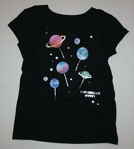 New Gap Kids Girls S 7 yr Black Top Tee Solar System Planets Stars Sweets Loli