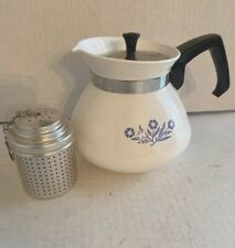 Vintage Corning Ware Teapot Blue Cornflower 6 Cup Infuser Stainless Lid