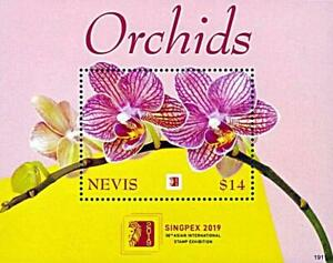 👉 NEVIS 2019 STAMP SHOW SINGAPORE // ORCHIDS FLOWERS S/S  MNH **