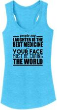 Ladies Laughter Is Best Medicine Tri-Blend Tank Top Mean Rude Party