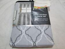Jakson 3 pcs Window Set TRELLIS ~ 1 Valance & 2 Rod Pocket Tiers ~ White/Grey