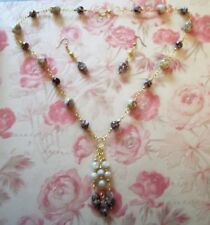 HAND MADE BROWN/CREAM MOTHER OF PEARL NECKLACE WITH HAND MADE PENDANT & EARRINGS