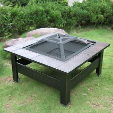 "32"" Metal Square Fire Pit Fireplace Heater BBQ Grill Stove Outdoor Patio TH Q5N6"