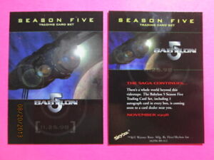 1998 BABYLON 5 SEASON FIVE - PROMO CARD ( 11.25.98 )