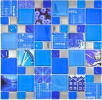 Mosaik Fliesenspiegel Glasmosaik silber blau Wand Küche Bad 88-0417_f 10Matten