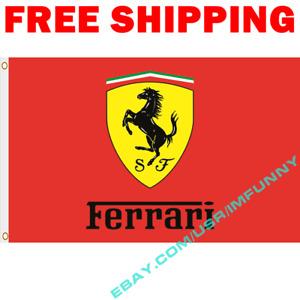 FERRARI Logo Banner Flag 3x5 ft Racing Car Show Garage Wall Decor Sign Gift RED