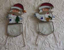 2 Santa Christmas Holiday Suncatchers Window Display Home Decor