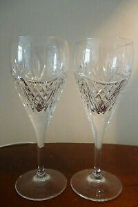 Pair of EDINBURGH CRYSTAL BEAULY CUT Wine glasses - Signed- Pristine Cond