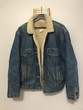 Vintage 1980s Sherpa Lined Faded Denim Jacket Chest Usa Made Size Large