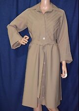 ALBERT NIPON Vintage Coat-Dress SIZE 12 Camel-Beige Button Down A-Line Belted