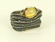 BORA Oxidized Sterling Silver & Genuine  Ethiopian Opal Ring Size 9,5