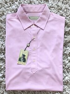 NWT Donald Ross Mens Large Pink/White Short Sleeve 4 Button Golf Polo Shirt
