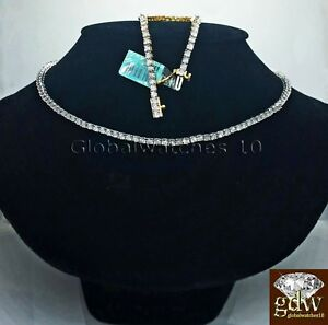 Real 925 Silver & Diamond Tennis Chain,Bracelet in Many Length White Gold finish