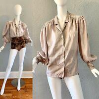 Vintage 70s Poet Sleeve Prairie Silky Pinstriped Secretary Button Blouse Top L